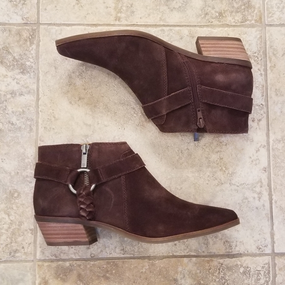 NWT LUCKY BRAND Leather Suede Brown Booties NEW